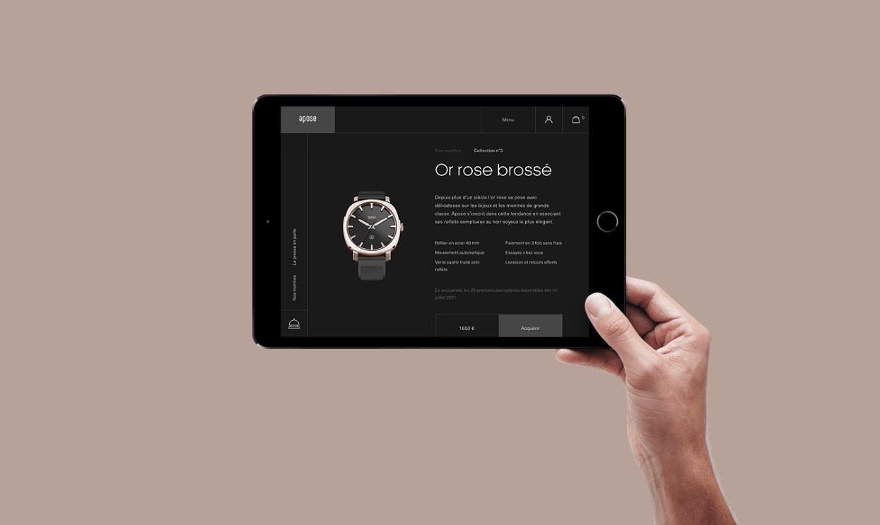 Le site web des montres Apose. Une création de l'agence Mars Rouge en Alsace.